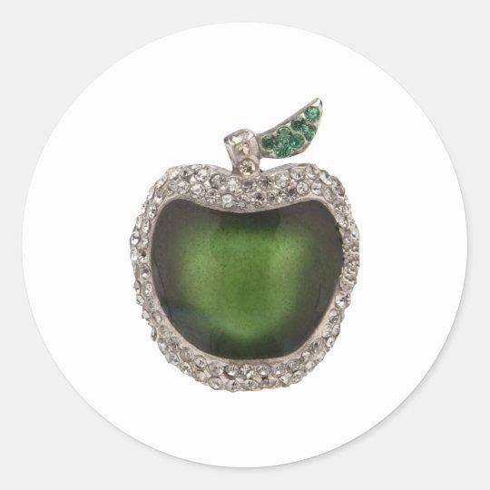 Jeweled Green Apple Classic Round Sticker