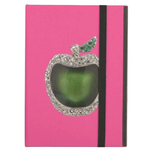 Jeweled Green Apple iPad Folio Cases