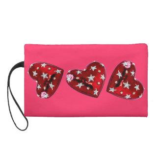 Jeweled Hearts Bagettes Bag Beautiful Wristlet Purses