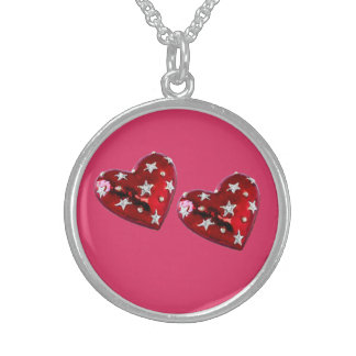 Jeweled Hearts Sterling Necklace Cherry