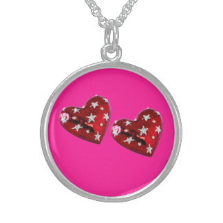 Jeweled Hearts Sterling Necklace fluorescent pink