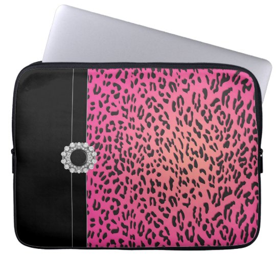 Jeweled Hot Pink Leopard Laptop Cover Sleeve