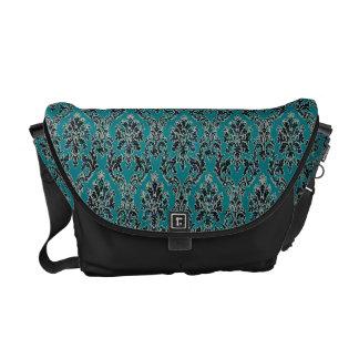 Jeweled Jade Damask Boho Glam Messenger Bag