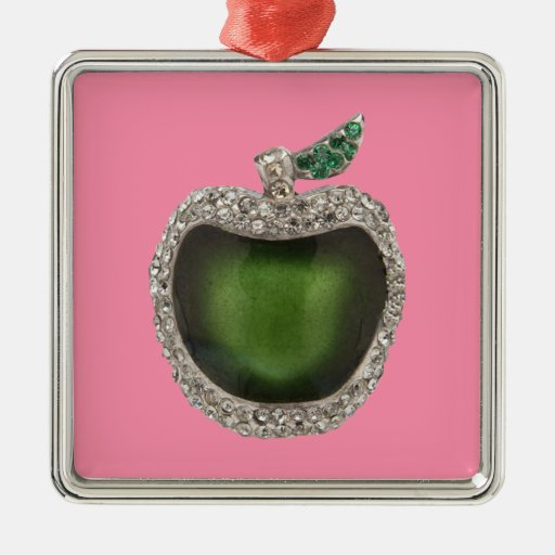 Jeweled Jade Green Apple Art Metal Ornament