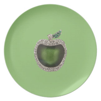 Jeweled Jade Green Apple Art on Pistachio Party Plates