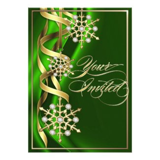 Jeweled Jazzy Snowflake Green Holiday Card