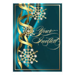 Jeweled Jazzy Snowflake Teal Holiday Card