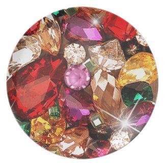 Jeweled Jewels Sparkle Gems Color Dinner Plates