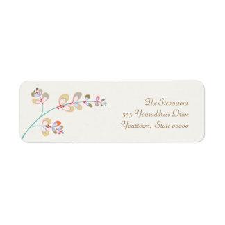 Jeweled Leaves Return Address Label