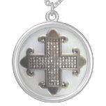 JEWELED MALTESE CROSS ON WHITE print Jewelry