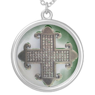 JEWELED MALTESE CROSS print Silver Plated Necklace