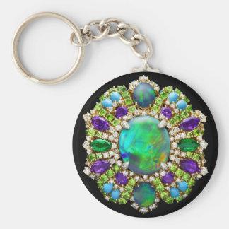 Jeweled Mandala Basic Round Button Keychain