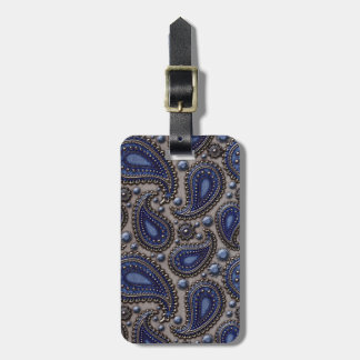 Jeweled Paisley Blue and Grey Tag For Luggage