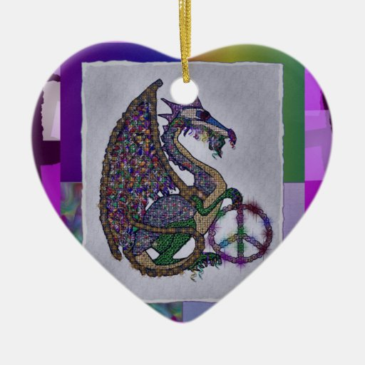 Jeweled Peace Dragon Double-Sided Heart Ceramic Christmas Ornament