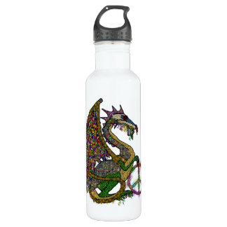 Jeweled Peace Dragon Stainless Steel Water Bottle