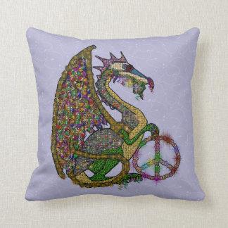 Jeweled Peace Dragon Throw Pillow