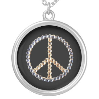 Jeweled peace sign on black background silver plated necklace