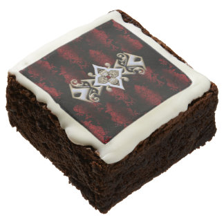 Jeweled Red Damask Goth Brownie