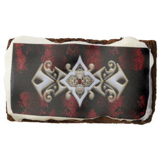 Jeweled Red Damask Goth Chocolate Brownie