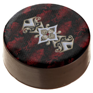 Jeweled Red Damask Goth Chocolate Dipped Oreo
