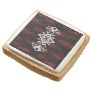 Jeweled Red Damask Goth Square Shortbread Cookie