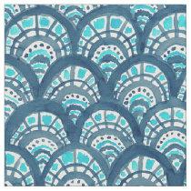JEWELED SCALES Navy Mermaid Fish Pattern Fabric