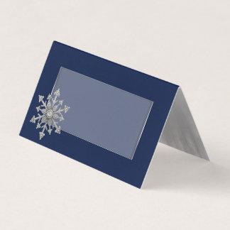 Jeweled Snowflake Wedding Folded Place Card