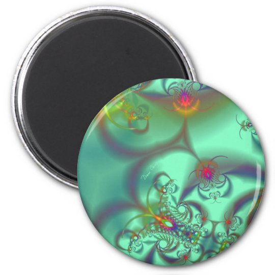 Jeweled Staircase - Abstract Emerald Kaleidoscope 2 Inch Round Magnet