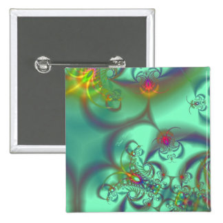 Jeweled Staircase - Abstract Emerald Kaleidoscope Button