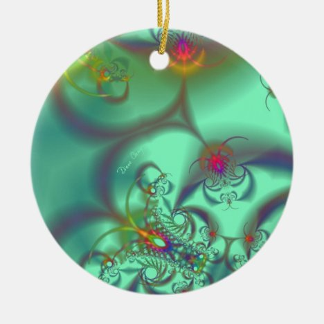 Jeweled Staircase - Abstract Emerald Kaleidoscope Ceramic Ornament