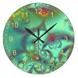 Jeweled Staircase - Abstract Emerald Kaleidoscope Wall Clocks