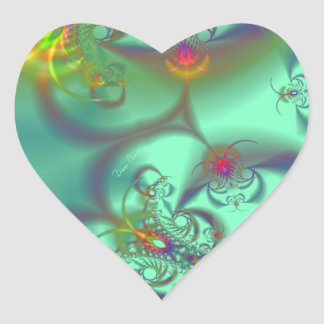 Jeweled Staircase - Abstract Emerald Kaleidoscope Heart Sticker