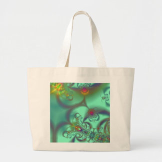 Jeweled Staircase - Abstract Emerald Kaleidoscope Large Tote Bag
