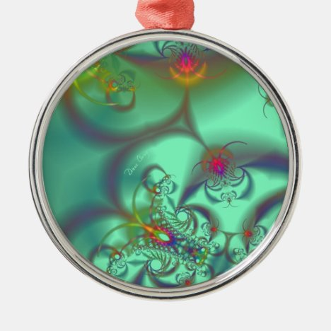 Jeweled Staircase - Abstract Emerald Kaleidoscope Metal Ornament