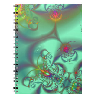 Jeweled Staircase - Abstract Emerald Kaleidoscope Notebook