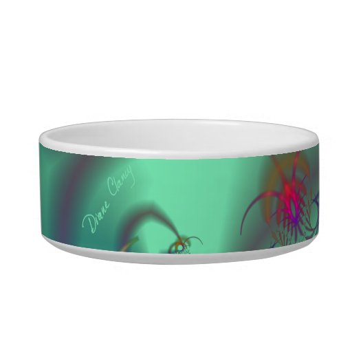 Jeweled Staircase - Abstract Emerald Kaleidoscope Cat Bowls