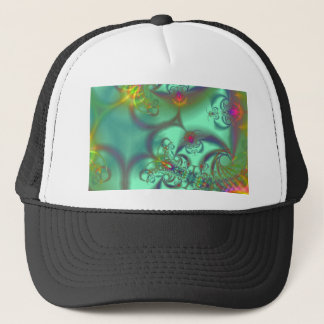 Jeweled Staircase - Abstract Emerald Kaleidoscope Trucker Hat