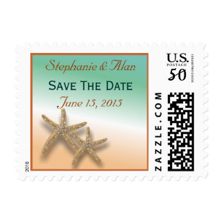 Jeweled Starfish Save The Date Postage
