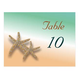 Jeweled Starfish Table Number Postcard