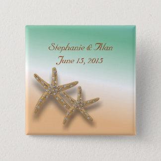 Jeweled Starfish Wedding Button