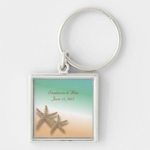 Jeweled Starfish Wedding Keychain