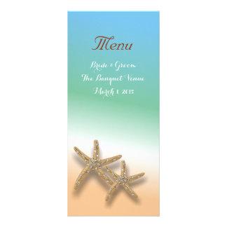 Jeweled Starfish Wedding Menu Rack Card