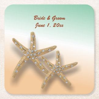 Jeweled Starfish Wedding Paper Coasters