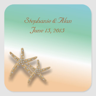 Jeweled Starfish Wedding Stickers