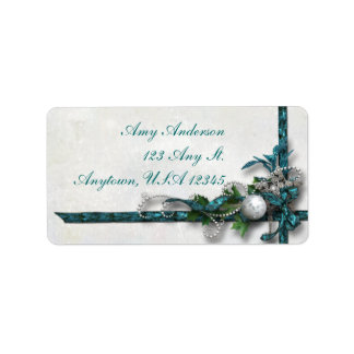 Jeweled Teal and Silver Christmas Address Labels