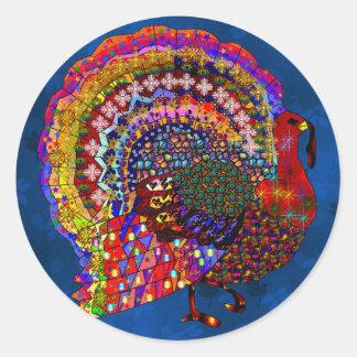 Jeweled Turkey Classic Round Sticker