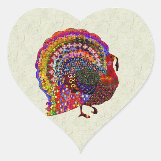 Jeweled Turkey Heart Sticker