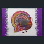 """Jeweled Turkey Placemat<br><div class=""""desc"""">You&#39;ve never seen a turkey like this one. It has jewels,  stars,  hearts,  and all kinds of shiny sparklies making up its feathers. This is no ordinary turkey. You&#39;ll draw admiring looks and memorable glances with a card,  sticker,  or a festive shirt to wear for Thanksgiving dinner.</div>"""