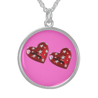 Jeweled Twin Hearts Sterling Silver Necklace