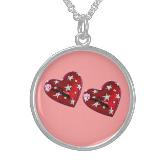 Jeweled Twin Hearts Sterling Silver Necklace pink
